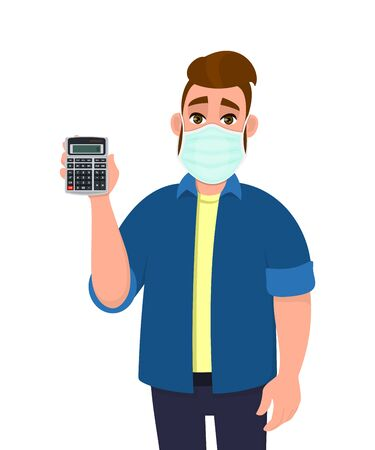 Hipster young man wearing medical mask and showing calculator. Trendy person covering face protection from virus. Male character holding calculating machine. Cartoon illustration in vector style. 矢量图像