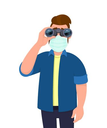 Young hipster man wearing medical mask and looking through binoculars. Trendy person covering face protection from virus. Modern lifestyle. Male character cartoon illustration design in vector style. Ilustracja