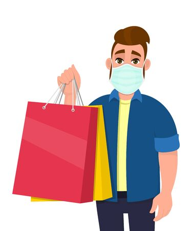 Hipster young man wearing medical mask and holding shopping bags. Trendy person covering face protection from virus. Male character showing colourful packages. Cartoon illustration in vector style. 矢量图像
