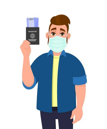 Young hipster man wearing medical mask and showing passport and ticket. Trendy person covering face protection from virus. Modern lifestyle. Male character cartoon illustration design in vector style.