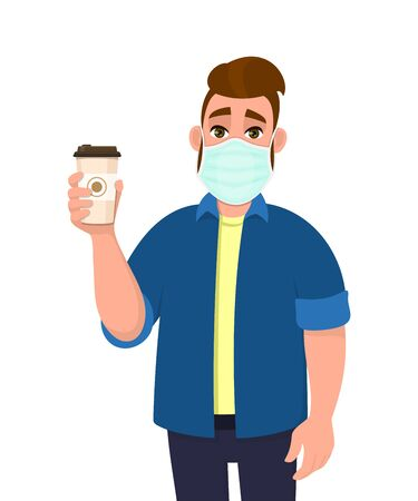 Young hipster man wearing medical mask and holding coffee cup. Trendy person covering face protection from virus. Male character showing hot drink paper mug. Cartoon illustration in vector style.