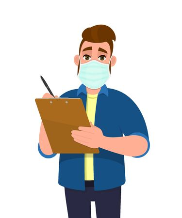 Hipster young man wearing medical mask and writing on clipboard. Trendy person covering face protection from virus disease. Male character holding report or document. Cartoon illustration in vector.