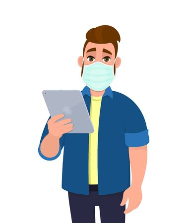 Hipster young man wearing medical mask and holding tablet computer. Trendy person covering face protection from virus. Modern technology lifestyle. Male character design cartoon illustration in vector