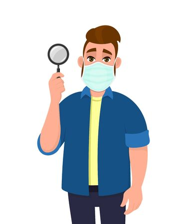 Young hipster man wearing medical mask and showing magnifying glass. Trendy person covering face protection from virus. Male character holding magnifier lens. Cartoon illustration in vector style. Stock fotó - 146803528