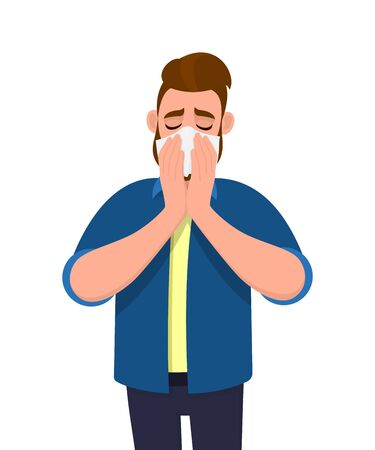 Young man sneezing and holding tissue. Sick person blowing runny nose. Male character covering with handkerchief. Unhealthy human suffering from cold and flu. Cartoon illustration design in vector. 矢量图像