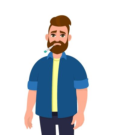 Young hipster man with a thermometer in his mouth. Trendy person suffering from cold and flu. Unhealthy male character checking temperature. Health care lifestyle. Cartoon illustration in vector.