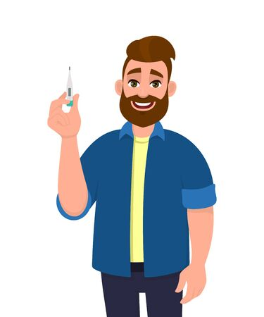 Young hipster man showing thermometer. Trendy bearded person holding body temperature measurement digital device. Male character design. Health care lifestyle. Cartoon illustration in vector style.