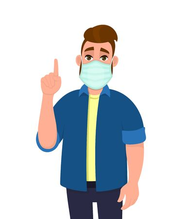 Hipster young man covering face with medical mask and pointing finger up symbol. Person wearing hygienic facial protection and gesturing hand sign. Male character cartoon illustration in vector style.