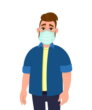Young hipster man covering mouth with medical mask. Trendy person wearing hygienic face protection against infection or pollution. Stylish male character design illustration in vector cartoon style.