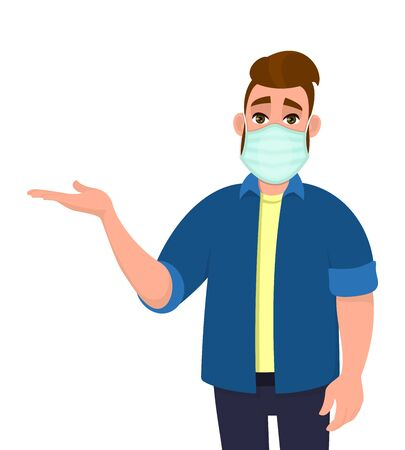 Young hipster man covering face with medical mask and presenting hand to copy space. Person wearing hygienic facial protection and introducing, pointing gesture. Cartoon illustration in vector style. 矢量图像