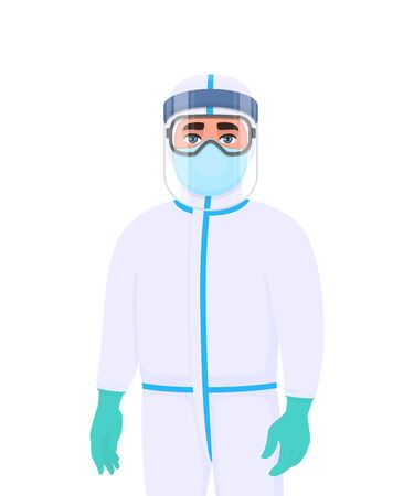 Doctor in protective suit and respirator. Medical staff or surgeon wearing PPE with face shield, latex gloves. Physician covering with mask, goggles to protect from virus. Vector cartoon illustration. Vektorgrafik