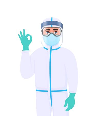 Medical staff in protective suit showing okay, OK gesture sign. Doctor wearing face shield, gloves and gesturing hand. Physician covering with mask, goggles. Corona virus epidemic cartoon illustration Vettoriali