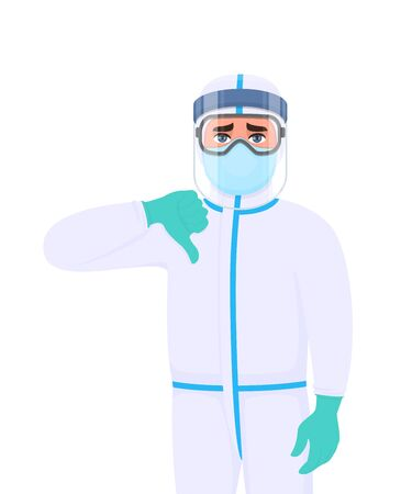 Doctor in protective suit showing thumbs down gesture sign. Medical staff wearing face shield, gloves and gesturing hand. Physician covering with safety elements. Corona virus. Cartoon illustration.