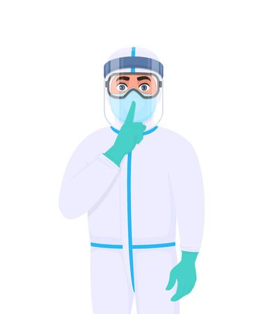 Doctor in protective suit asking silence gesture sign. Medical staff wearing face shield and showing finger on lips. Physician covering with safety elements and gesturing hand. Corona virus epidemic. Vettoriali