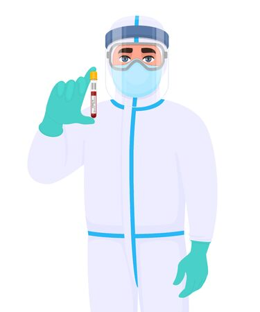 Doctor in virus protection suit and showing blood sample collection. Medical person wearing face shield, latex gloves. Physician covering body with personal protective elements. Corona virus test.