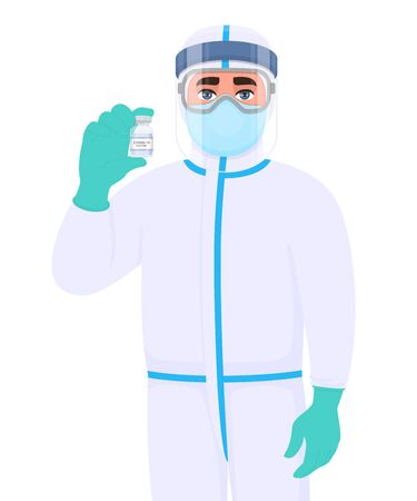 Doctor in safety protective suit clothing and showing vaccine bottle. Medical person wearing face shield. Professional physician holding medicine vial. Corona virus epidemic. Cartoon illustration. 矢量图像