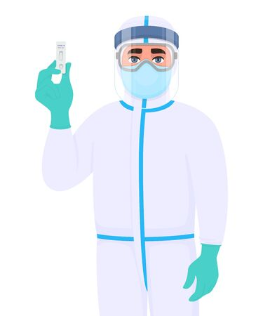 Doctor in safety protective suit and showing rapid test kit for virus disease. Medical surgeon holding lab card. Physician wearing personal protection equipment. Corona virus. Cartoon illustration.