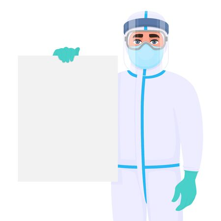Doctor in virus safety protection suit and showing blank poster. Medical person holding empty banner. Physician covering body with personal protective equipment. Professional surgeon displaying board.