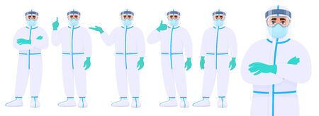 Male doctor in protective suit standing various postures and showing hand gestures. Set of physician or surgeon character covering with safety coverall (PPE). Cartoon illustration in vector style. 矢量图像