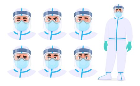 Set of male doctor facial expression with safety protective suit, mask, glasses and face shield. Physician or surgeon wearing PPE. Collection of medical scientist emotions. Cartoon illustration vector