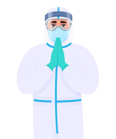 Doctor in safety protective suit, mask, glasses and face shield. Physician showing welcome or greeting gesture with palms together. Medical surgeon praying hands symbol. Corona virus epidemic outbreak