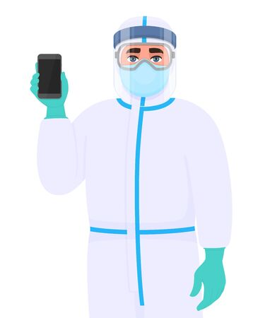Doctor in safety protection suit, medical mask, glasses and face shield showing phone. Physician holding mobile, cell or smartphone. Surgeon wearing personal protective equipment (PPE). Vector design.
