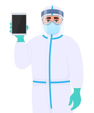 Person in safety protection suit, medical mask, glasses and face shield showing tablet computer. Doctor or physician holding digital gadget. Surgeon wearing personal protective equipment (PPE). Vector Illusztráció