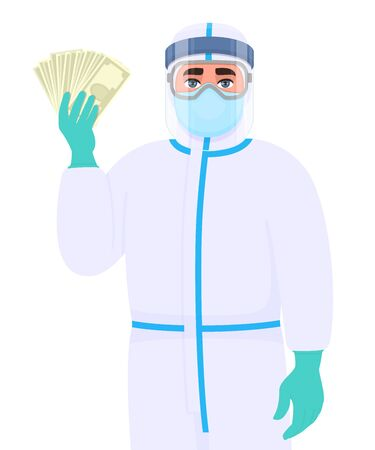 Man in safety protection suit, medical mask, glasses and face shield showing cash, money. Doctor or physician holding currency notes. Surgeon or scientist wearing personal protective equipment (PPE). 矢量图像