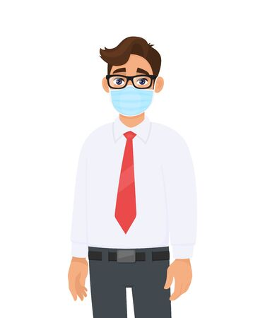 Young business man covering face with medical mask. Trendy person wearing facial hygienic surgical mask. Environmental awareness & virus protection. Male cartoon design illustration design in vector.