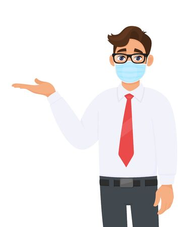 Young businessman covering face with medical mask and presenting hand to copy space. Trendy person wearing facial hygienic surgical mask and pointing hand. Cartoon design illustration in vector style.