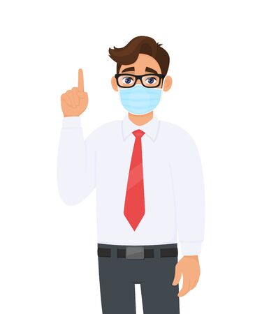 Young business man covering face with medical mask and pointing finger up symbol. Trendy person wearing facial hygienic surgical mask and gesturing hand sign. Cartoon design illustration in vector.
