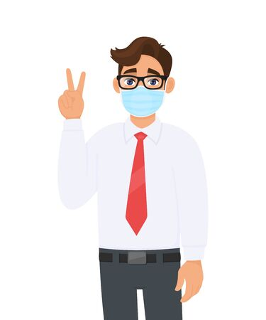 Young businessman wearing face medical mask and showing victory, peace sign. Trendy person covering surgical mask and gesturing two, success symbol. Cartoon design illustration in vector style.
