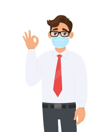 Young business man wearing face medical mask and showing okay, OK sign. Trendy person covering surgical mask and gesturing agree, success symbol with fingers. Cartoon design illustration in vector.