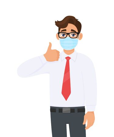 Young businessman wearing face medical mask and showing thumbs up sign. Trendy person covering surgical mask and gesturing okay, OK, success symbol. Male cartoon design illustration in vector style. Illusztráció
