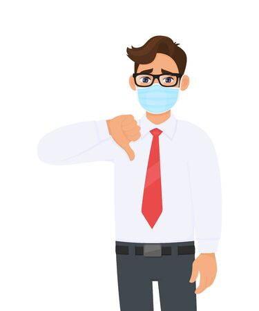 Unhappy young business man wearing medical mask and showing thumbs down sign. Trendy person covering surgical mask and gesturing bad, negative symbol. Male character cartoon illustration in vector.