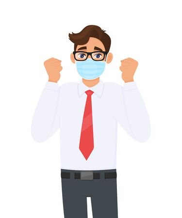 Excited young businessman wearing face medical mask and showing raised hand fist. Trendy person covering surgical mask and gesturing success symbol. Male cartoon design illustration in vector style.