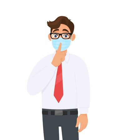 Young businessman wearing face medical mask and asking silence please. Keep quiet. Trendy person covering surgical mask and gesturing finger on lips symbol. Male cartoon illustration in vector style. Illusztráció