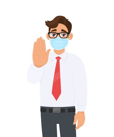 Young business man wearing face medical mask and showing stop hand sign. Trendy person covering surgical mask and gesturing halt, quit symbol. Male character cartoon design illustration in vector.