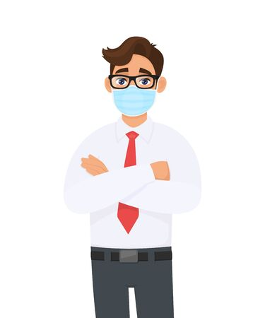 Young business man wearing medical mask to prevent disease and standing crossed arm. Trendy person covering surgical face mask and posing folded hand. Male cartoon illustration design in vector style.
