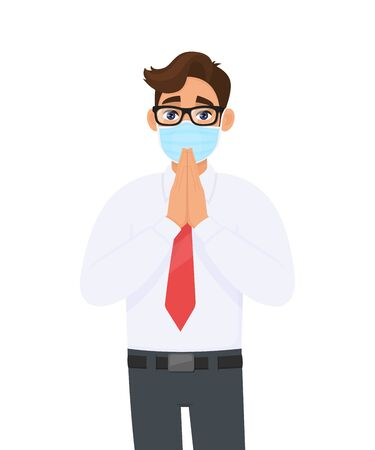Young businessman wearing medical mask and greeting with hands together. Person with eye glasses saying namaste gesture sign. Healthy life. Male character design illustration in vector cartoon style.