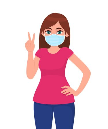 Young woman wearing medical face mask and showing victory, peace sign. Trendy girl covering protective surgical mask and gesturing success, winner symbol. Cartoon illustration design in vector style. 矢量图像