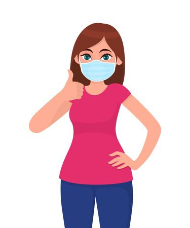 Happy young woman wearing medical face mask and showing thumbs up sign. Trendy girl covering protective surgical mask and gesturing good, success symbol. Cartoon illustration design in vector style. 矢量图像