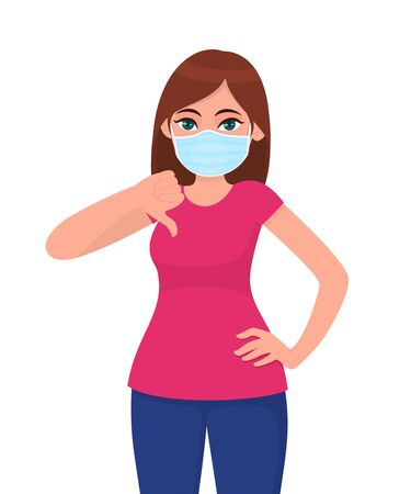 Unhappy young woman wearing medical face mask and showing thumbs down sign. Trendy girl covering protective surgical mask and gesturing bad, negative symbol. Cartoon illustration in vector style.