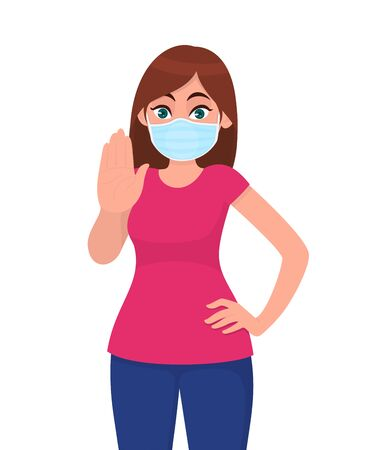 Young woman wearing medical face mask and showing stop sign with hand palm. NO! Trendy girl covering protective surgical mask and gesturing warning symbol. Cartoon illustration design in vector style.