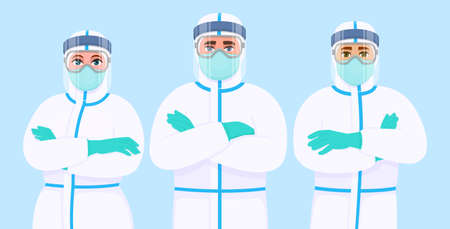 Team of doctors in protection suit, face shield, mask and goggles. Group of medical staff with personal protective equipment. Surgeons covering with safety coverall. Corona virus epidemic outbreak.