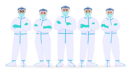 Group of doctors in protection suit, face shield, mask and goggles. Team of medical staffs with personal protective equipment. Physicians covering with safety coverall. Cartoon illustration in vector.