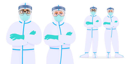 Medical doctors in protective suits, goggles and masks. Physician standing and keeping arms crossed. Team of surgeons covering with coverall (PPE). Corona virus outbreak illustration in cartoon style.