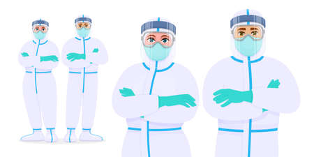 Professional doctors posing together and wearing protective suits, mask, face shield and glasses. Corona virus outbreak. Group of medical workers in personal protective equipment. Cartoon illustration Illusztráció