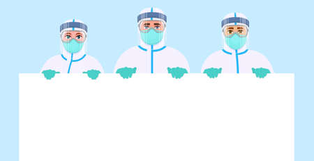Team of doctors in protection safety suit showing blank poster. Group of surgeons holding empty banner. Physicians displaying white board. Medical staffs wearing hospital PPE uniform. Vector design.
