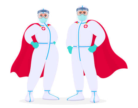 Superhero doctors in safety protection suit, medical mask and capes. Team of professional surgeons. Male and female physicians wearing PPE and cloaks. Corona virus epidemic. Vector design illustration